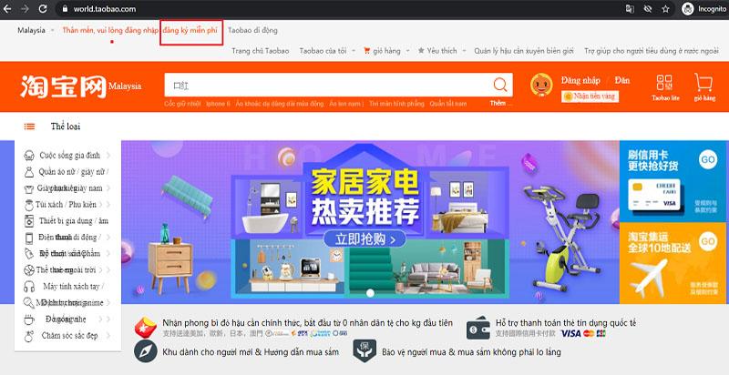 Nhập hàng trực tiếp trên Taobao 1688 tmall